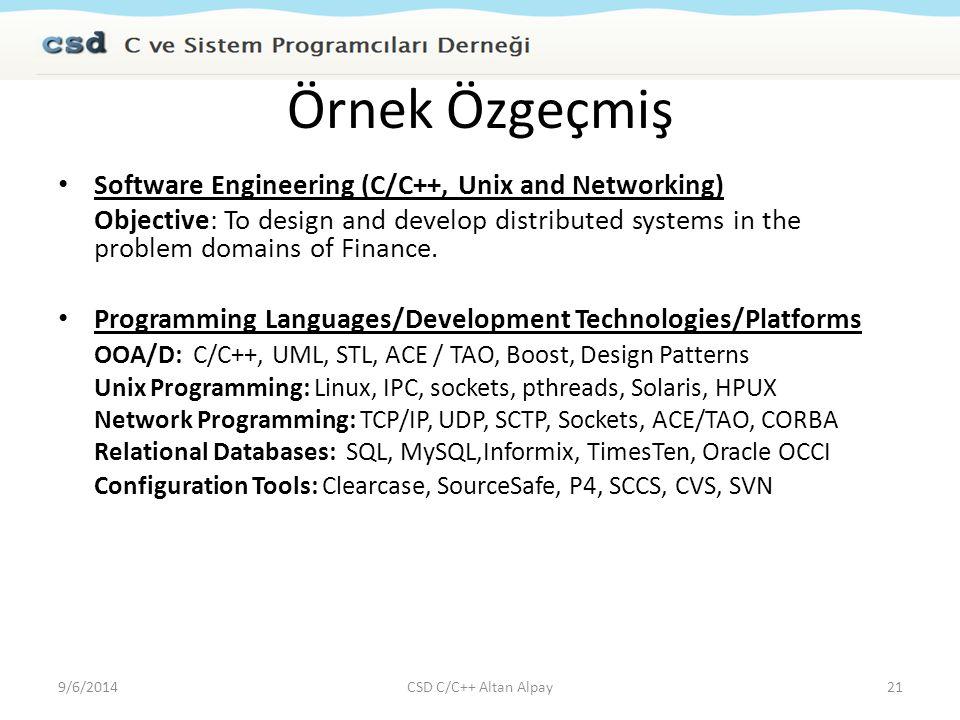 Örnek Özgeçmiş Software Engineering (C/C++, Unix and Networking)