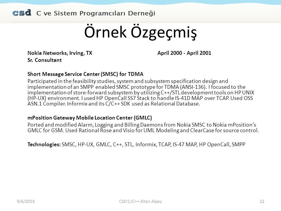 Örnek Özgeçmiş Nokia Networks, Irving, TX April 2000 - April 2001