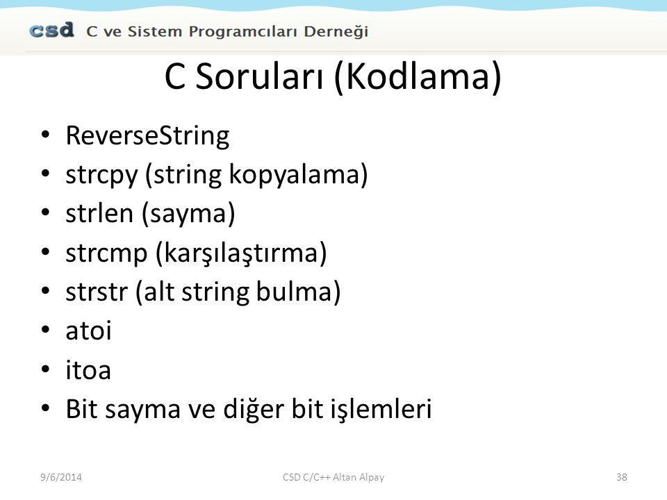 C Soruları (Kodlama) ReverseString strcpy (string kopyalama)