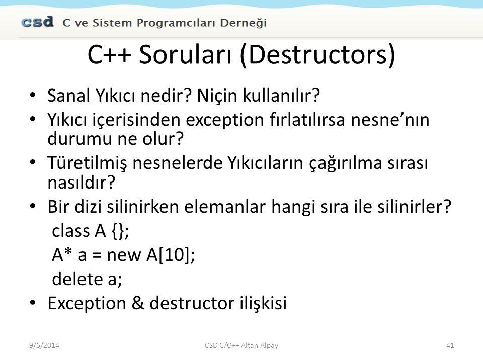 C++ Soruları (Destructors)
