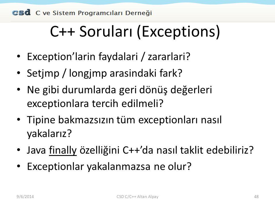 C++ Soruları (Exceptions)