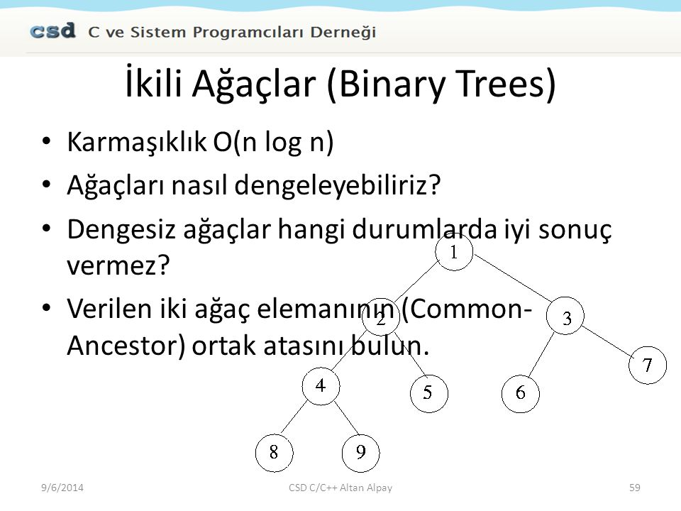 İkili Ağaçlar (Binary Trees)