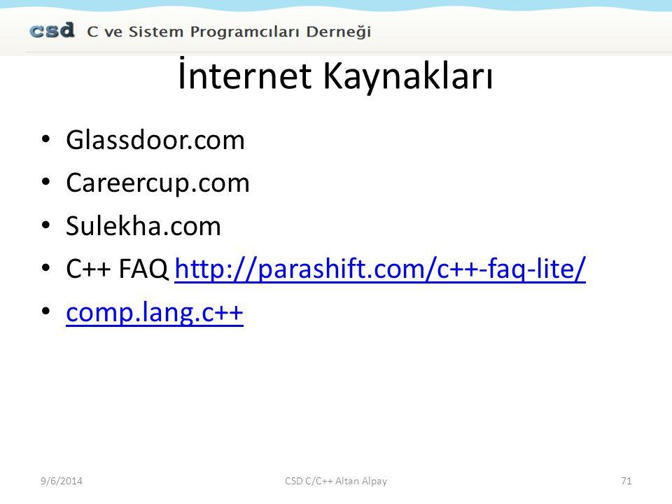 İnternet Kaynakları Glassdoor.com Careercup.com Sulekha.com