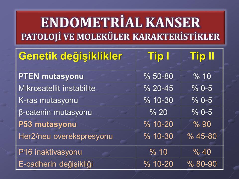 ENDOMETRİAL KANSER PATOLOJİ VE MOLEKÜLER KARAKTERİSTİKLER