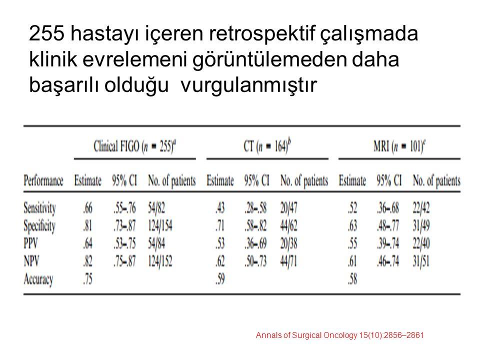 255 hastayı içeren retrospektif çalışmada klinik evrelemeni görüntülemeden daha başarılı olduğu vurgulanmıştır