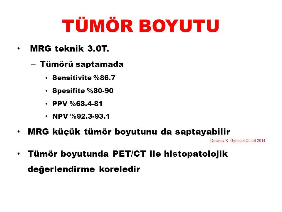 TÜMÖR BOYUTU MRG teknik 3.0T. MRG küçük tümör boyutunu da saptayabilir