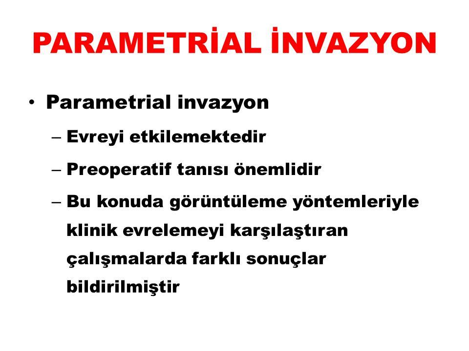 PARAMETRİAL İNVAZYON Parametrial invazyon Evreyi etkilemektedir