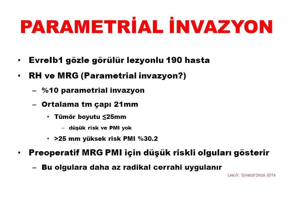 PARAMETRİAL İNVAZYON EvreIb1 gözle görülür lezyonlu 190 hasta