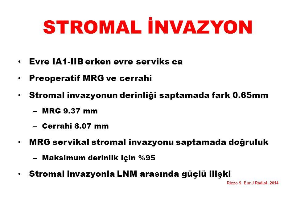 STROMAL İNVAZYON Evre IA1-IIB erken evre serviks ca