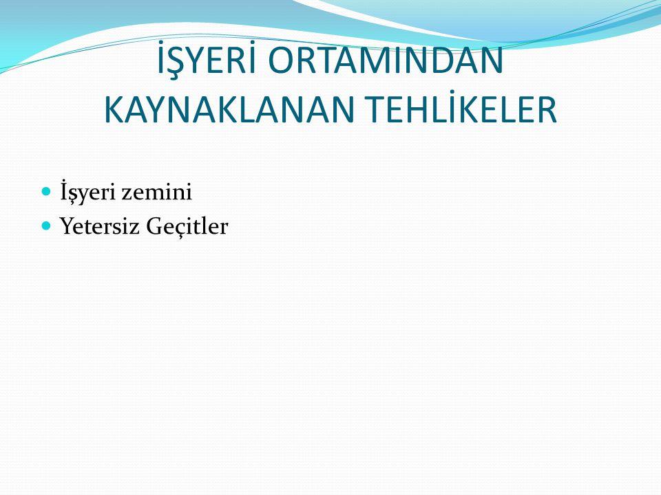 İŞYERİ ORTAMINDAN KAYNAKLANAN TEHLİKELER