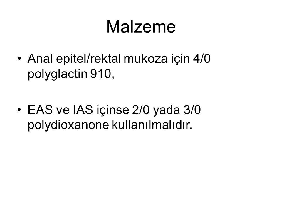 Malzeme Anal epitel/rektal mukoza için 4/0 polyglactin 910,