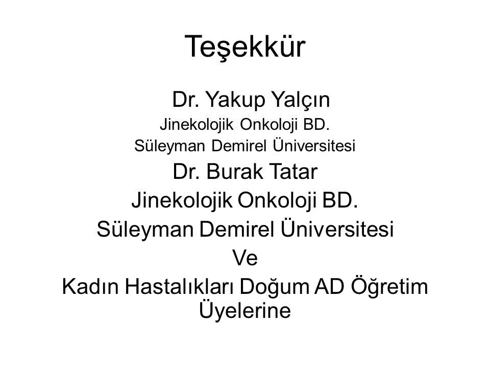 Teşekkür Dr. Yakup Yalçın Dr. Burak Tatar Ve