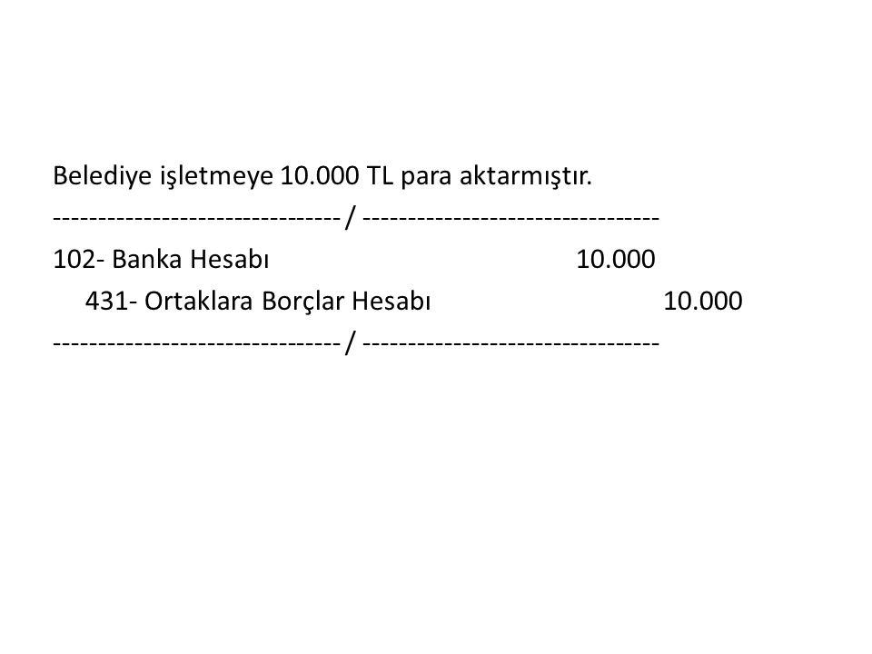 Belediye işletmeye 10. 000 TL para aktarmıştır