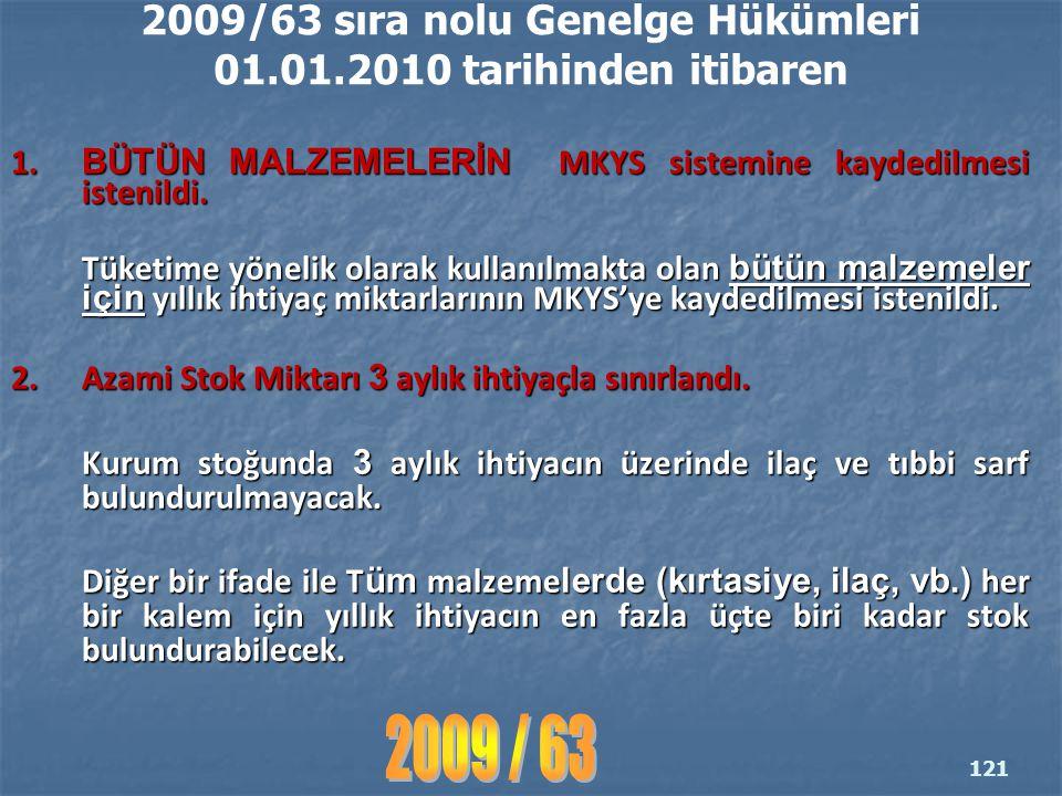 2009/63 sıra nolu Genelge Hükümleri 01.01.2010 tarihinden itibaren