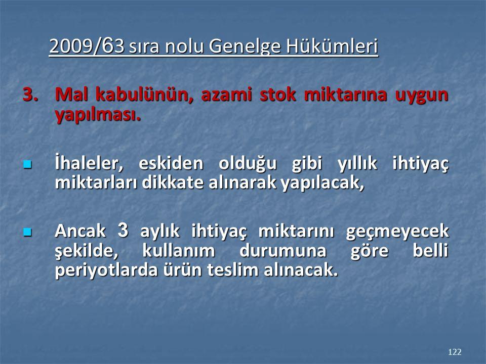 2009/63 sıra nolu Genelge Hükümleri