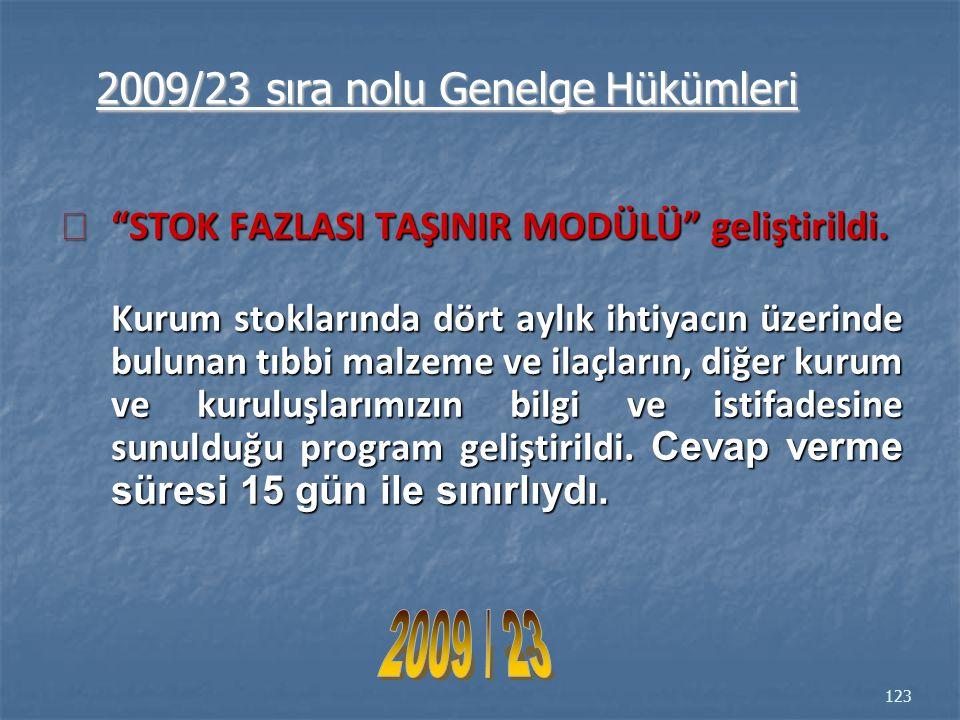 2009 / 23 2009/23 sıra nolu Genelge Hükümleri