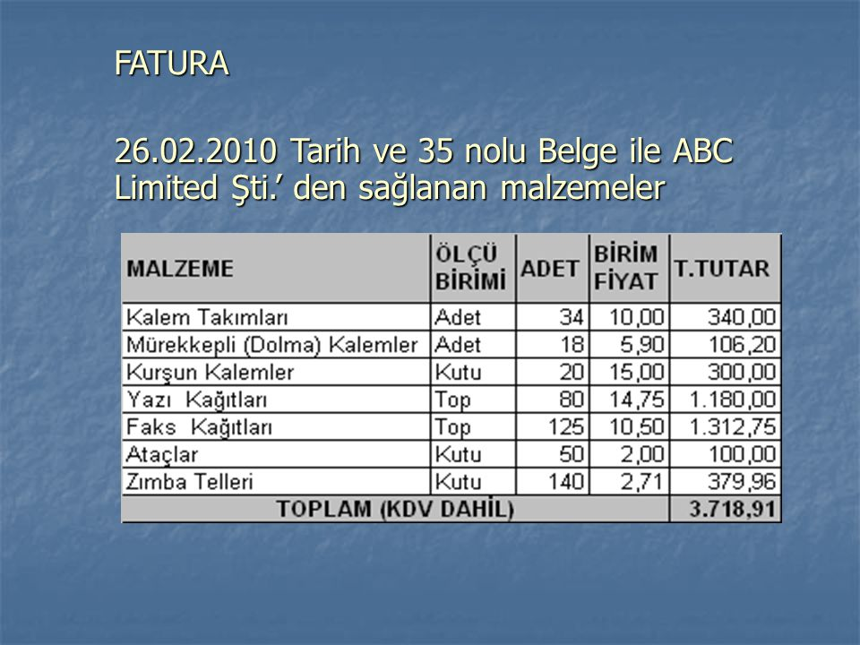 FATURA 26.02.2010 Tarih ve 35 nolu Belge ile ABC Limited Şti.' den sağlanan malzemeler
