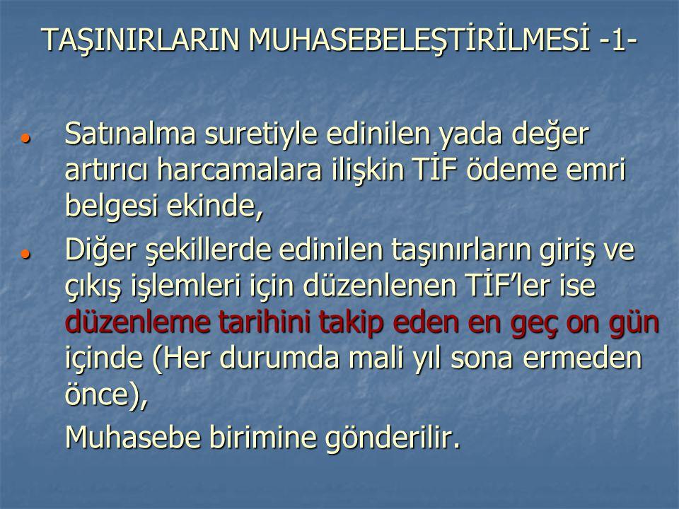 TAŞINIRLARIN MUHASEBELEŞTİRİLMESİ -1-