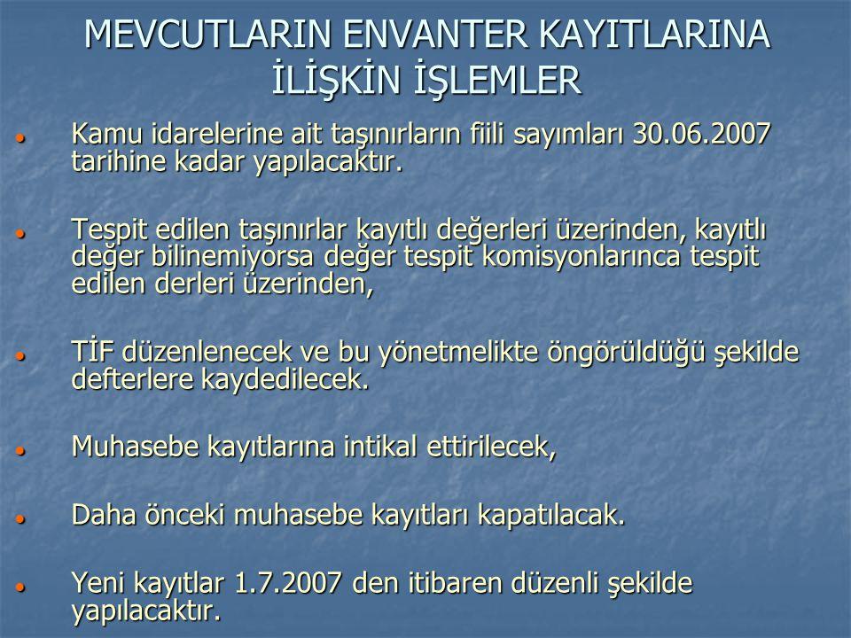 MEVCUTLARIN ENVANTER KAYITLARINA İLİŞKİN İŞLEMLER