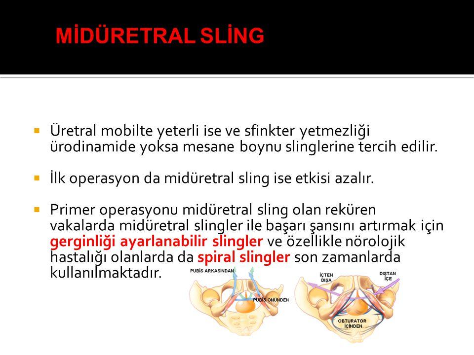 MİDÜRETRAL SLİNG Üretral mobilte yeterli ise ve sfinkter yetmezliği ürodinamide yoksa mesane boynu slinglerine tercih edilir.