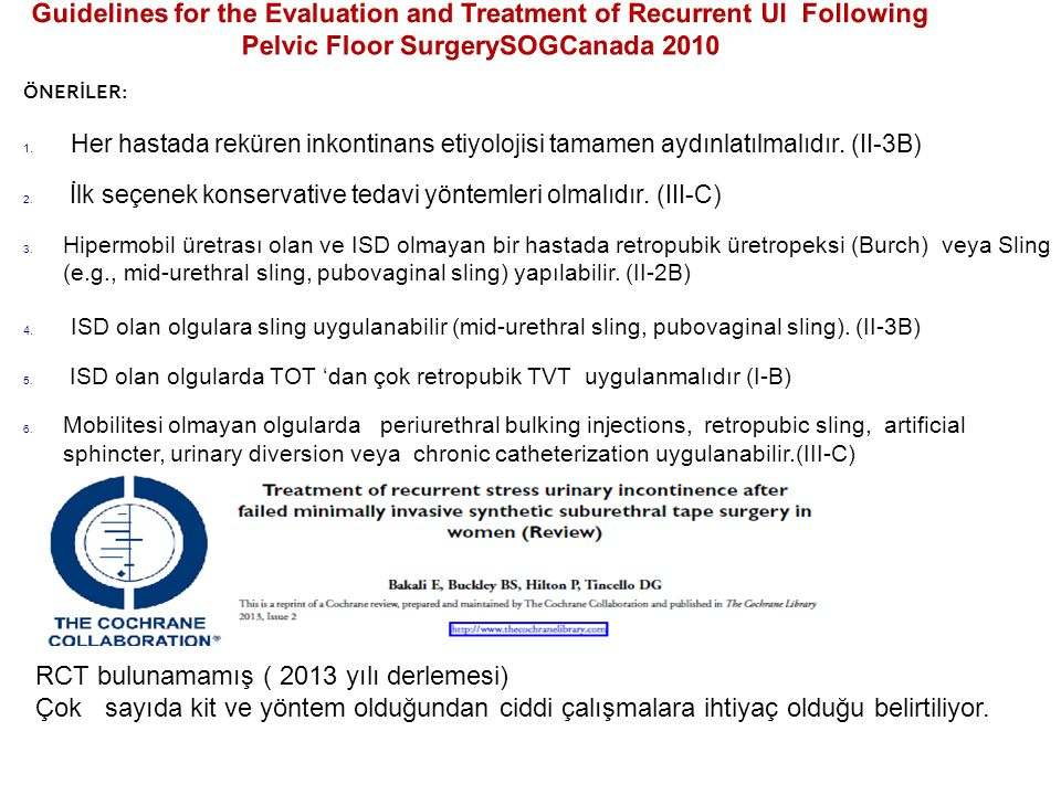 Guidelines for the Evaluation and Treatment of Recurrent UI Following Pelvic Floor SurgerySOGCanada 2010