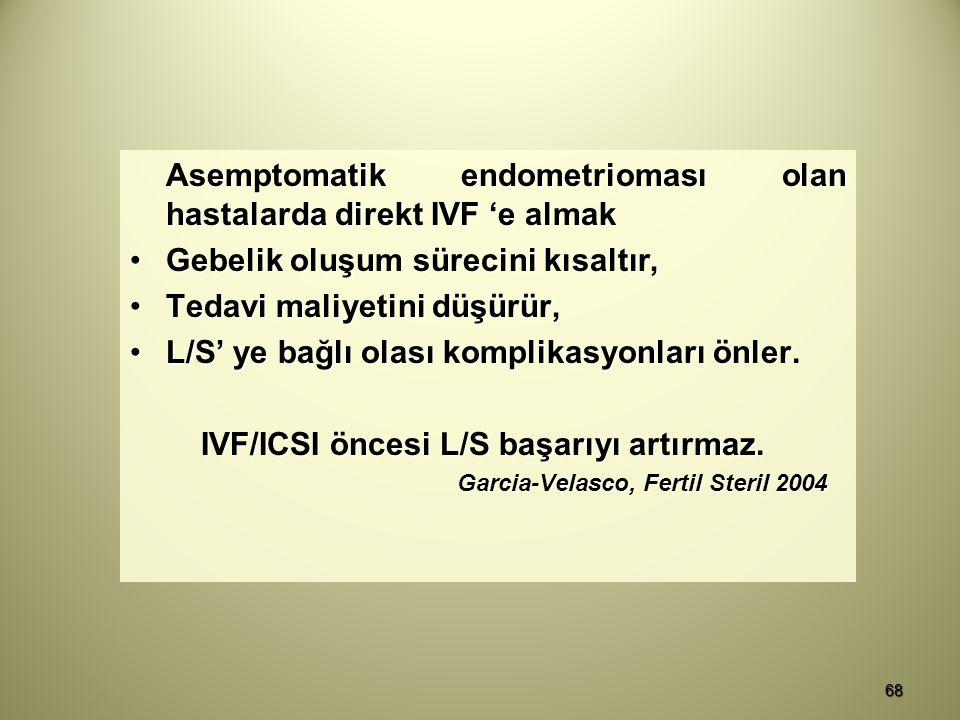 Asemptomatik endometrioması olan hastalarda direkt IVF 'e almak