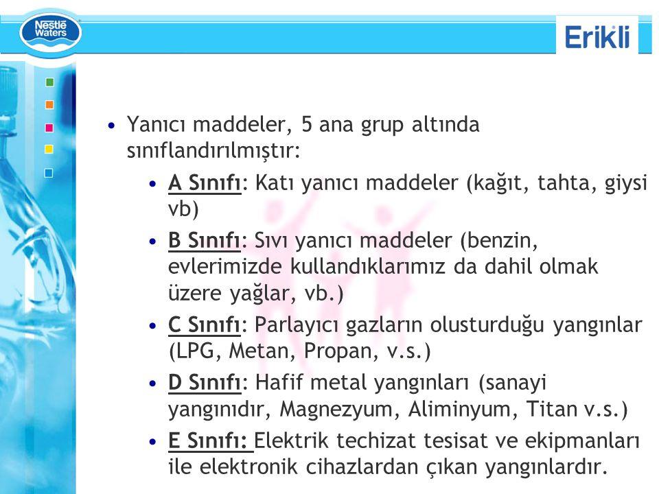Yanıcı maddeler, 5 ana grup altında sınıflandırılmıştır: