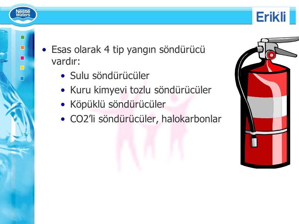 Esas olarak 4 tip yangın söndürücü vardır:
