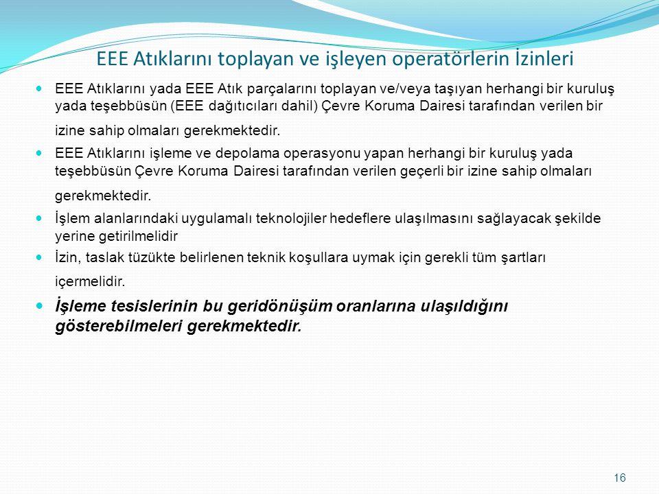 EEE Atıklarını toplayan ve işleyen operatörlerin İzinleri