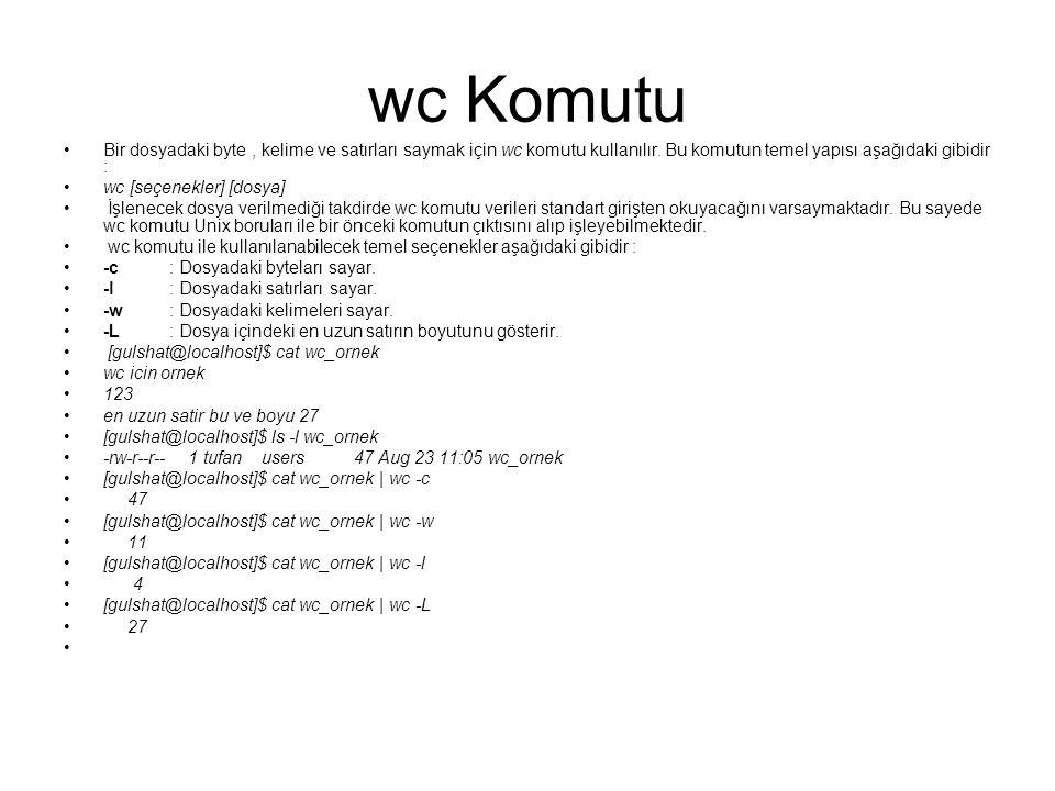 wc Komutu Bir dosyadaki byte , kelime ve satırları saymak için wc komutu kullanılır. Bu komutun temel yapısı aşağıdaki gibidir :