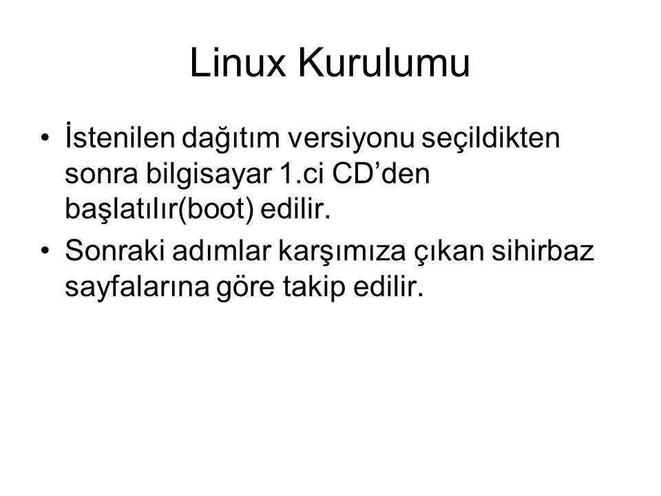 Linux Kurulumu İstenilen dağıtım versiyonu seçildikten sonra bilgisayar 1.ci CD'den başlatılır(boot) edilir.