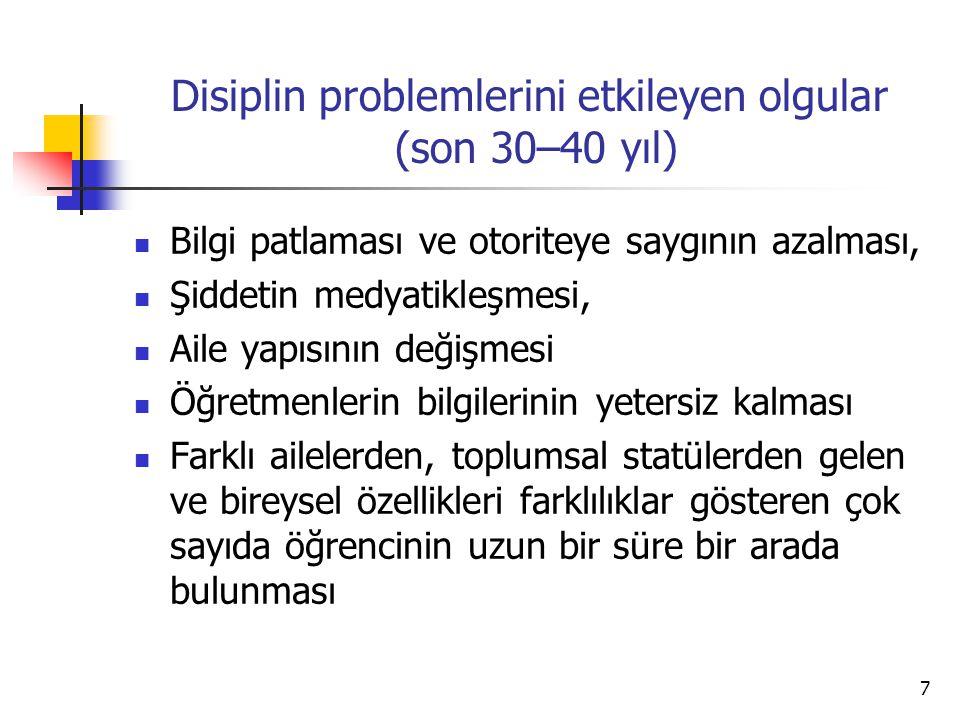 Disiplin problemlerini etkileyen olgular (son 30–40 yıl)
