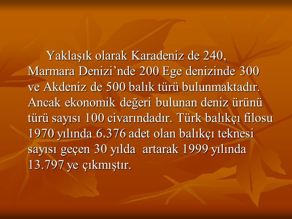 Yaklaşık olarak Karadeniz de 240, Marmara Denizi'nde 200 Ege denizinde 300 ve Akdeniz de 500 balık türü bulunmaktadır.