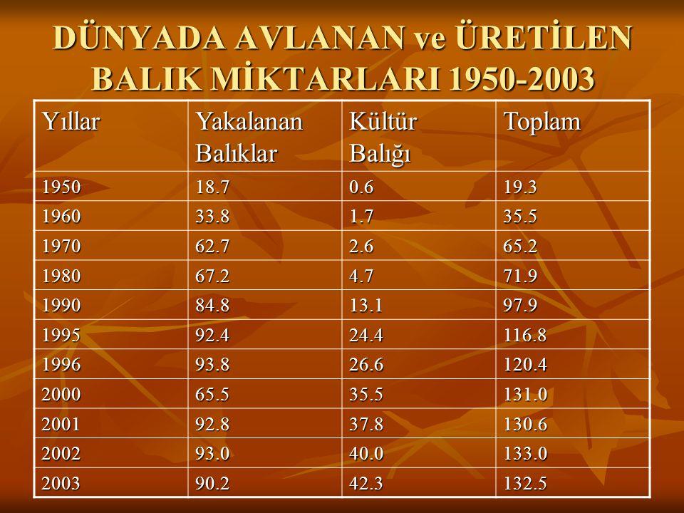 DÜNYADA AVLANAN ve ÜRETİLEN BALIK MİKTARLARI 1950-2003