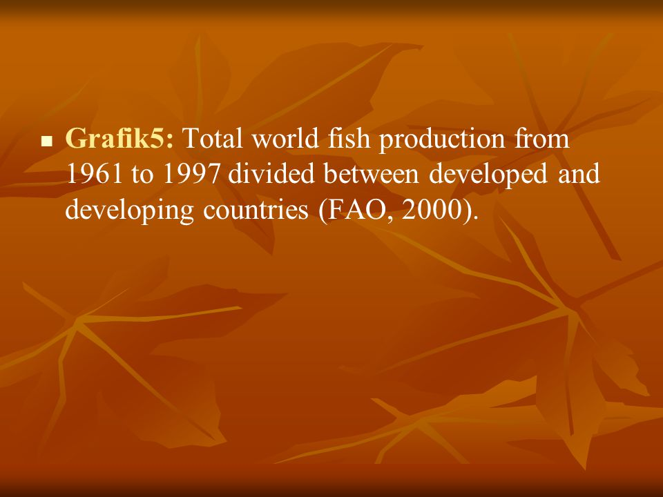 Grafik5: Total world fish production from 1961 to 1997 divided between developed and developing countries (FAO, 2000).