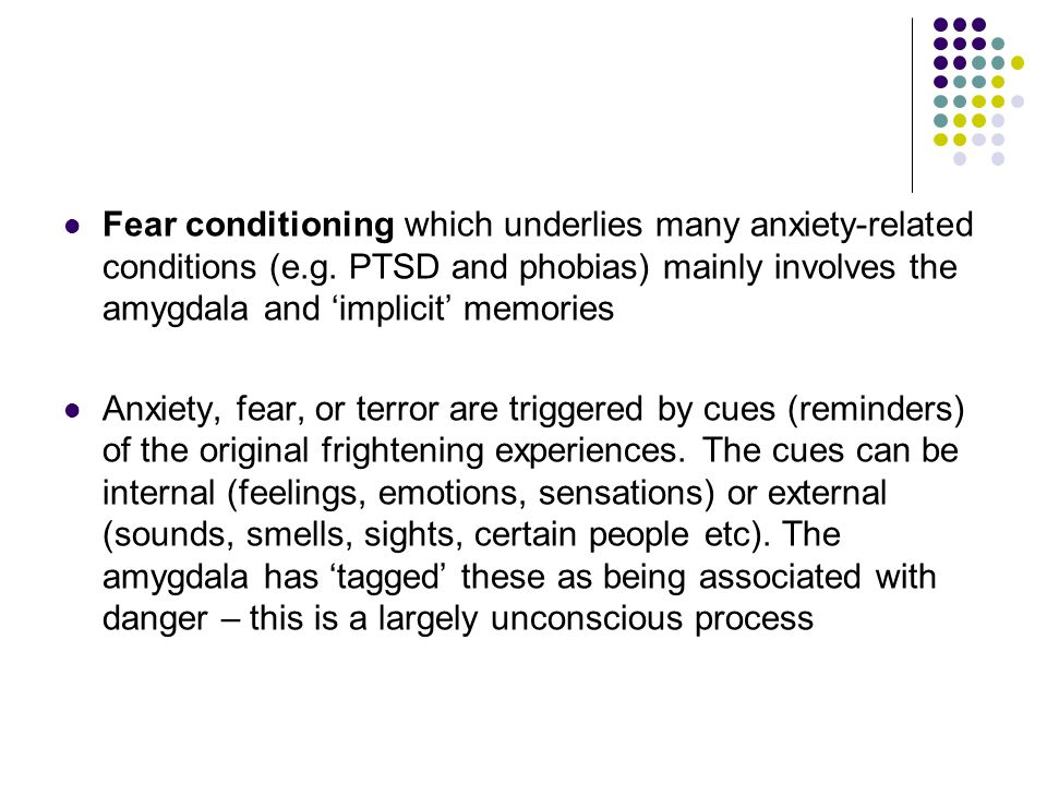 Fear conditioning which underlies many anxiety-related conditions (e.g. PTSD and phobias) mainly involves the amygdala and 'implicit' memories