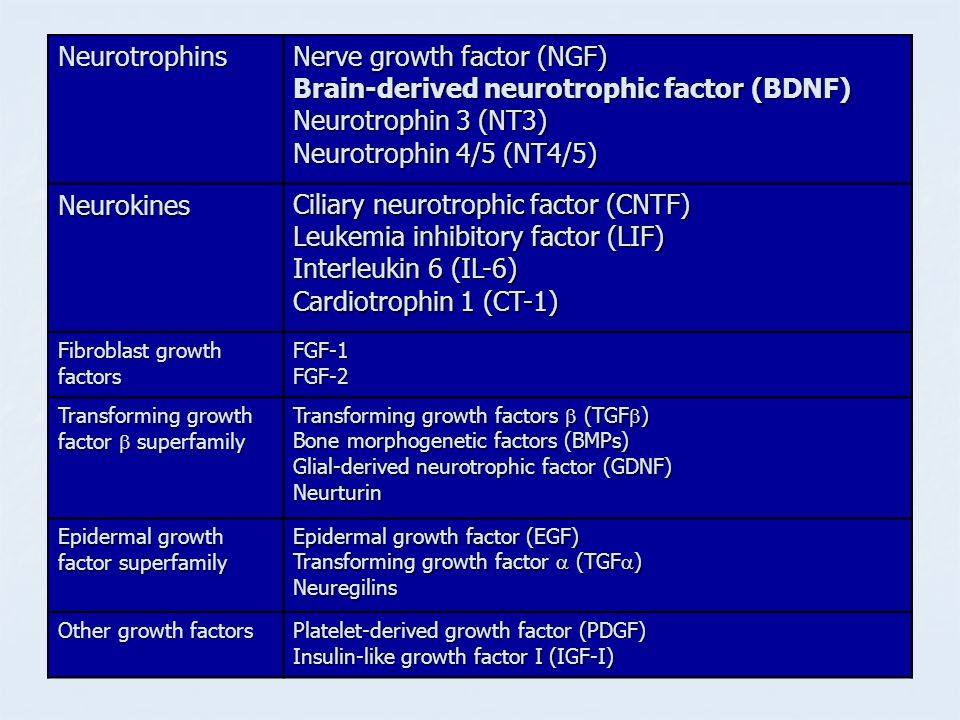 Nerve growth factor (NGF) Brain-derived neurotrophic factor (BDNF)
