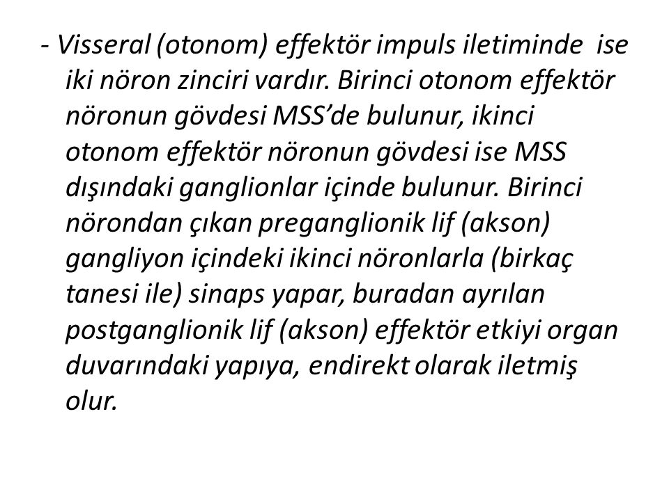 - Visseral (otonom) effektör impuls iletiminde ise iki nöron zinciri vardır.