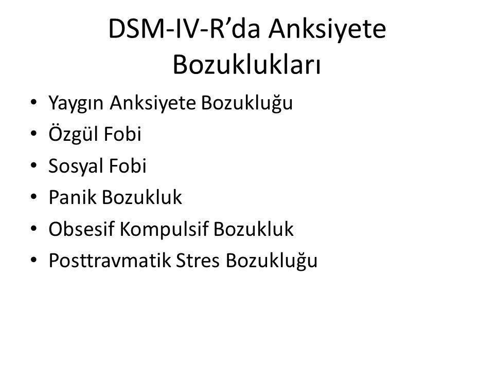 DSM-IV-R'da Anksiyete Bozuklukları