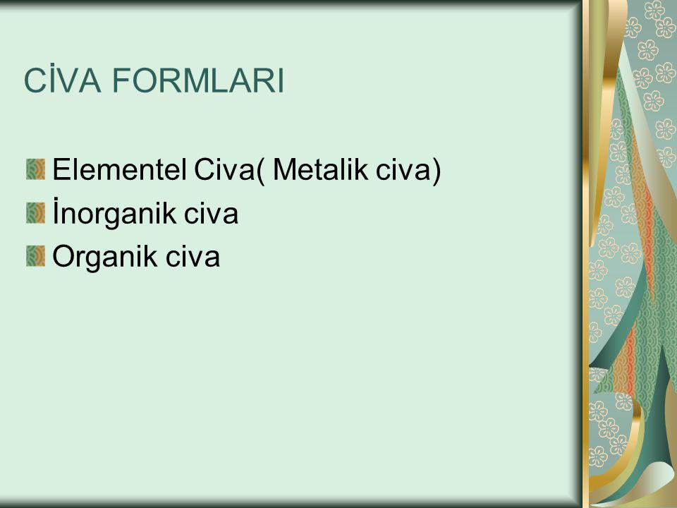 CİVA FORMLARI Elementel Civa( Metalik civa) İnorganik civa