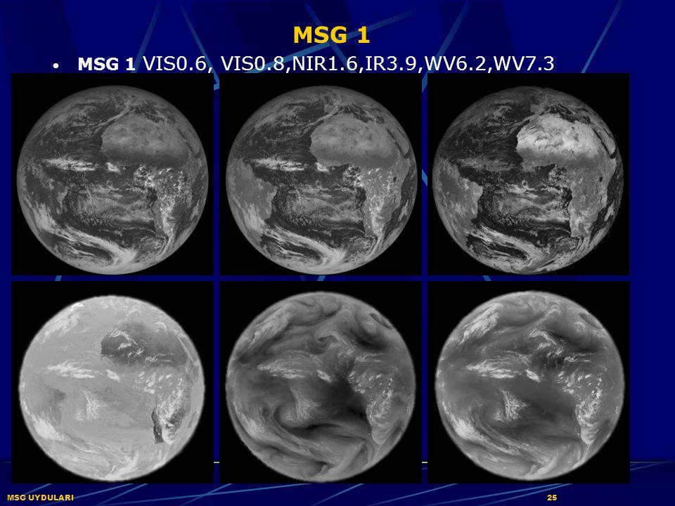MSG 1 MSG 1 VIS0.6, VIS0.8,NIR1.6,IR3.9,WV6.2,WV7.3 MSG UYDULARI 25