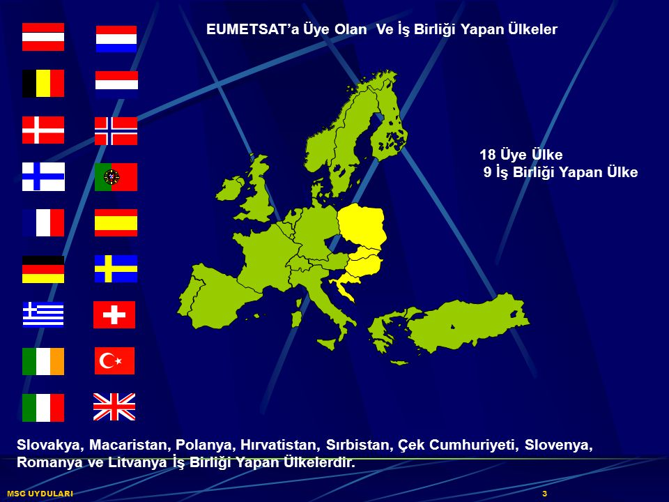 EUMETSAT'a Üye Olan Ve İş Birliği Yapan Ülkeler