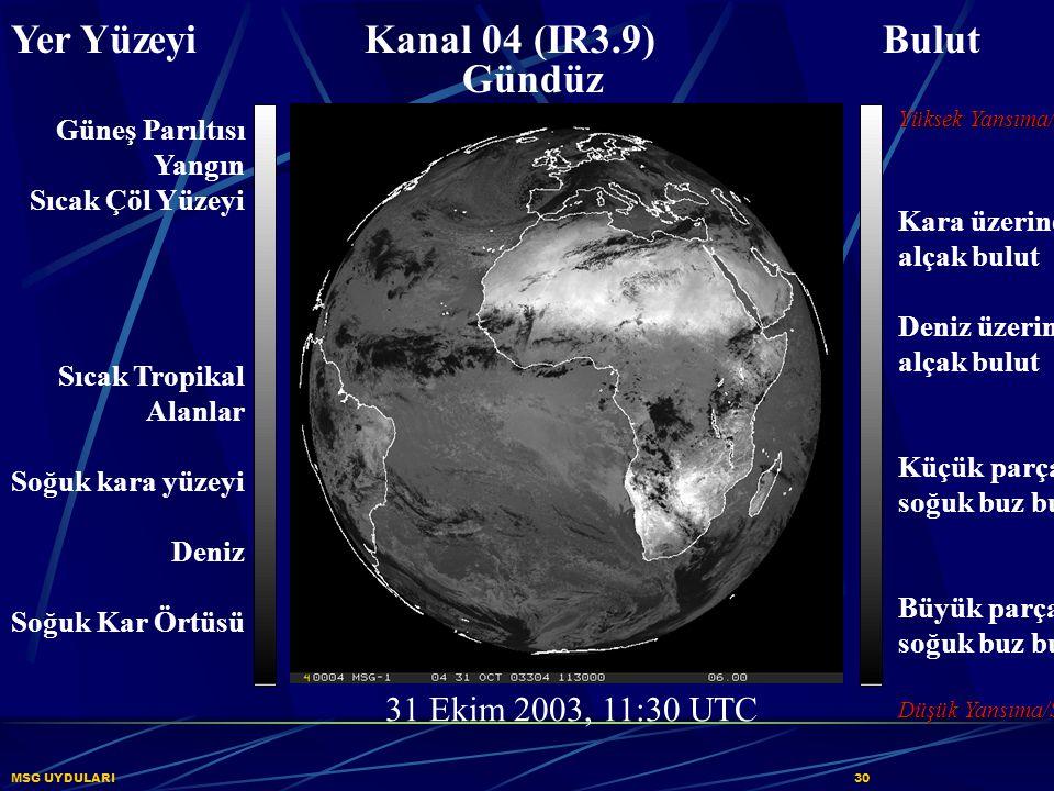 Yer Yüzeyi Kanal 04 (IR3.9) Bulut Gündüz