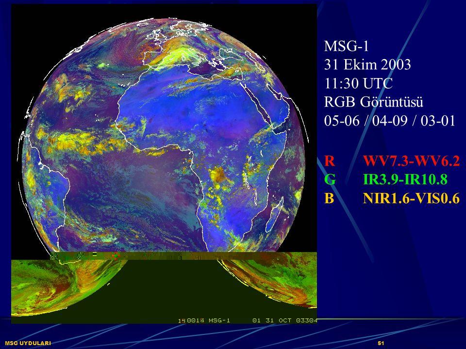 MSG-1 31 Ekim 2003 11:30 UTC RGB Görüntüsü 05-06 / 04-09 / 03-01