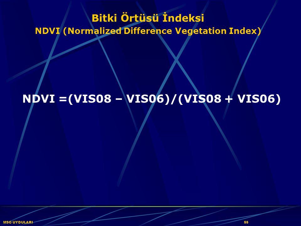 NDVI =(VIS08 – VIS06)/(VIS08 + VIS06)