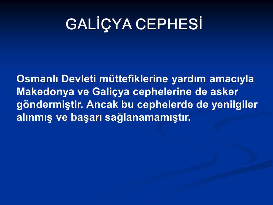 GALİÇYA CEPHESİ Osmanlı Devleti müttefiklerine yardım amacıyla