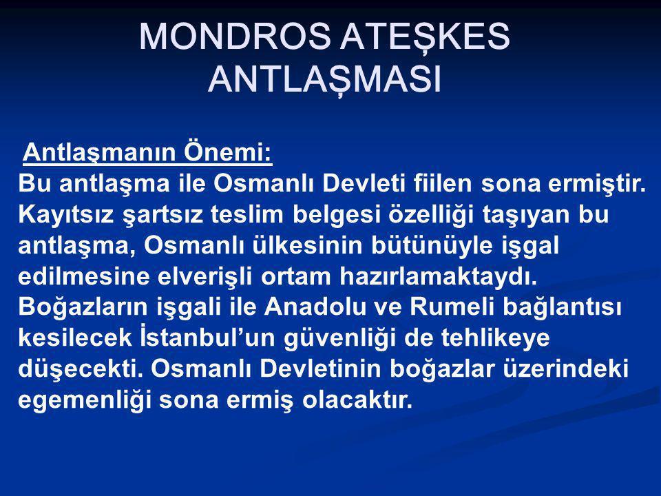 MONDROS ATEŞKES ANTLAŞMASI