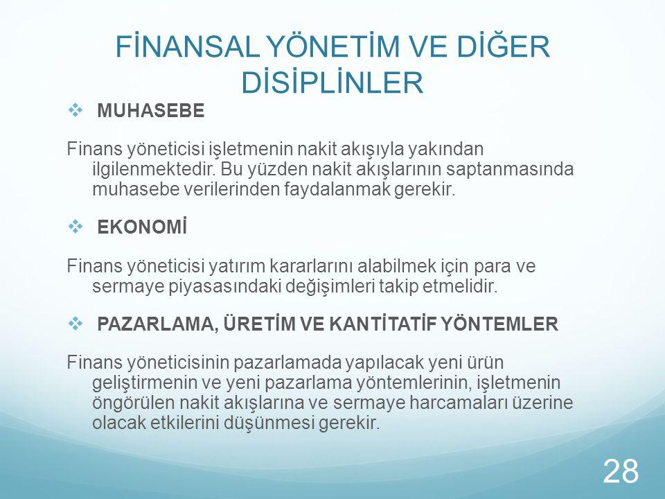 FİNANSAL YÖNETİM VE DİĞER DİSİPLİNLER