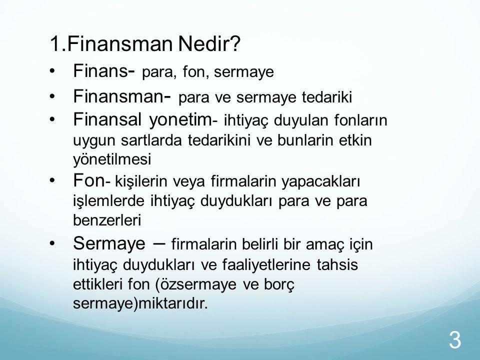 1.Finansman Nedir Finans- para, fon, sermaye