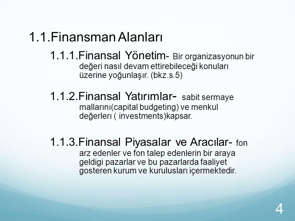 1.1.Finansman Alanları 1.1.1.Finansal Yönetim- Bir organizasyonun bir değeri nasıl devam ettirebileceği konuları üzerine yoğunlaşır. (bkz.s.5)
